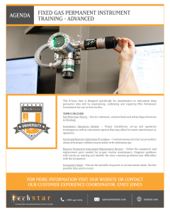 Fixed Gas Permanent Instruments Training (Advanced) - August 26, 2021