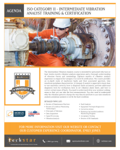 ISO Category II - Intermediate Vibration Analyst Training & Certification - August 2-6, 2021